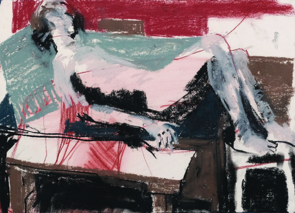 Reclining in A Post Cubist Manner, Nicola Carberry, pastel