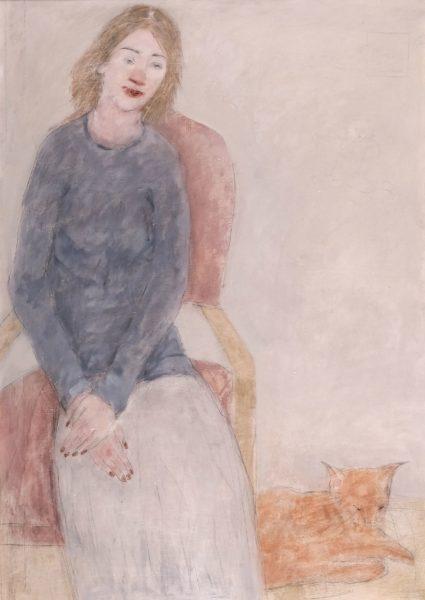 Red Cats, Joyce Gunn Cairns, oil & pencil on board