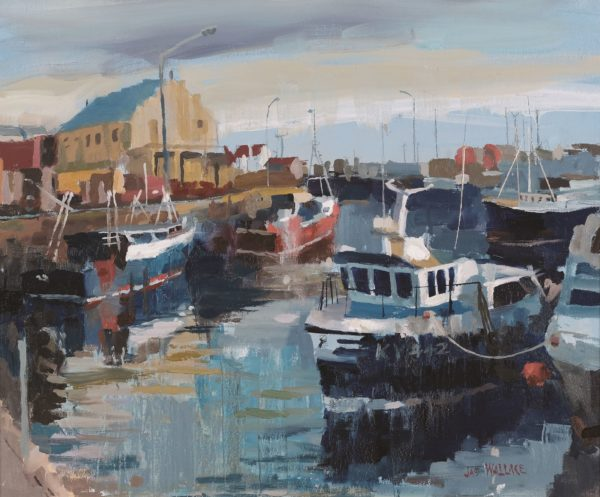 Blue Boats At Pittenweem, James Wallace DA, oil