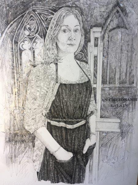 An Creidan  Ealain, Marlene Lochhead, pen, graphite, mixed media 28x39cm