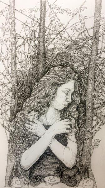 Sanctuary I, Marlene Lochhead, Pen 28x38cm