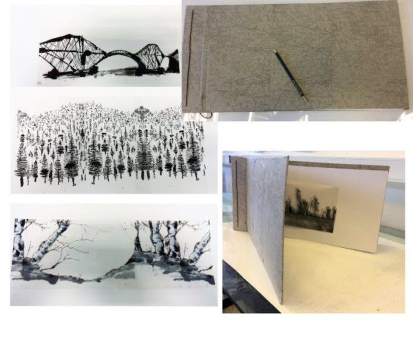 Pen and ink drawings, Nancy Sheppard Docherty, Hand made book 2018 - 100 x 22 cm