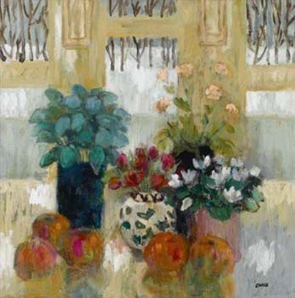 Cyclamen and Tulips, Linda Clark, Oil, 2016, 24x24cm