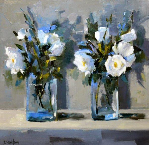 Roses in Clear Vases, Mary Davidson, Oil,  2017,  40cm x 40cm
