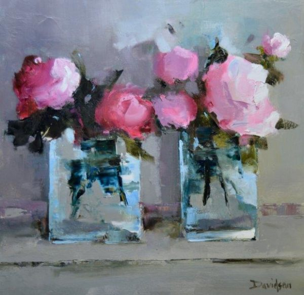 Spring Peonies, Mary Davidson, Oil,  May 2018,  30cm x 30cm