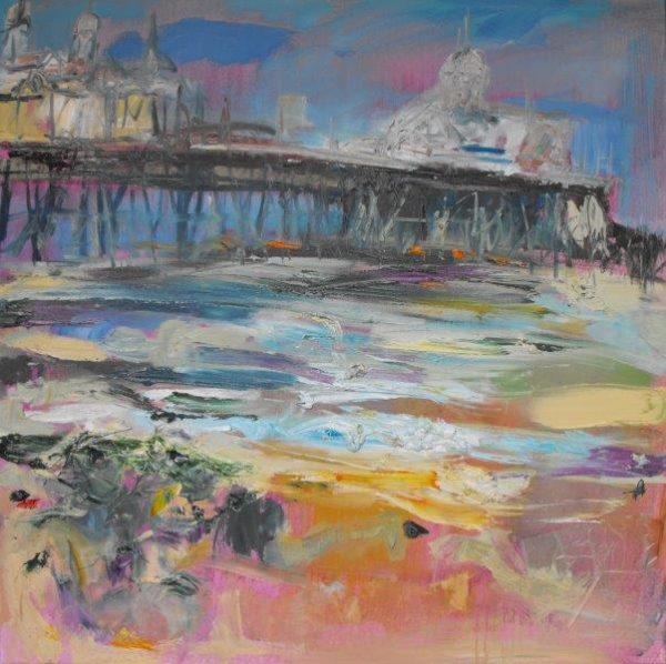 Eastbourne Pier, Judith I Bridgland, Oil and Mixed Media on Linen, 2010, 36