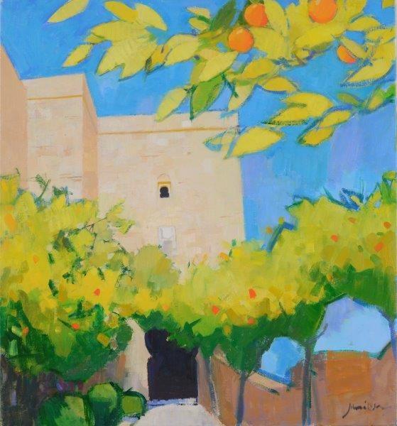 Orange Trees Alcazaba, Charles Jamieson, oil on linen, 30x28 inches, 2019