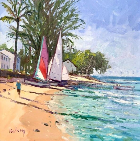 Small Boats at Crystal Cove, Barbados, Robert Kelsey, oil on linen, 2019.  30 x 30 cm