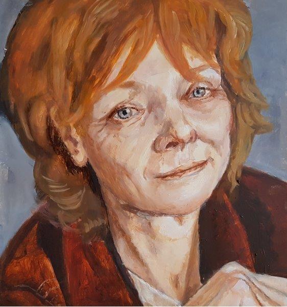 The Great Diane Kurys, Filmmaker, Jack Fuller, Oils on panel, 2018, 10x12