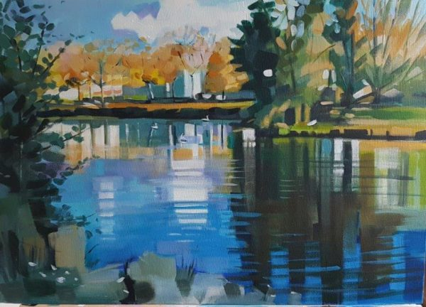 The Swan Pond, Gillian Greer Park, acrylic, June 2018 32''x 25''
