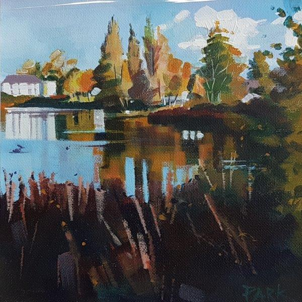 Thom Street Loch, Gillian Greer Park, acrylic, March 2019 14'' x 18''