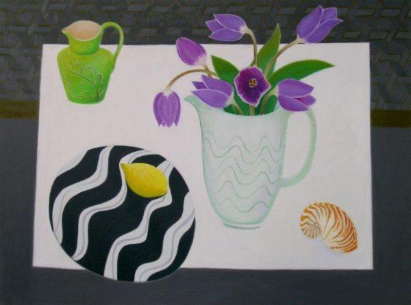 Tulips, Lemon & Shell, Janet Tod, Oil on Linen, 76 x 102 cm