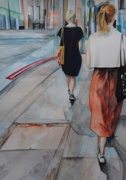 Follow Me, Maggie Wilson, watercolour 40x30cm