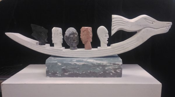 Ship of Fools, Tom Allan, #003: marble and wood, 122x25x46cm