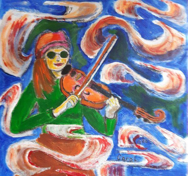 Sound Waves, Carol Elizabeth Morrow, Acrylic, 40x40cm