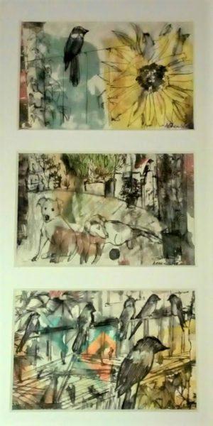 Magpie (trio), Alison Brewster, Mixed Media 17cm x 34cm