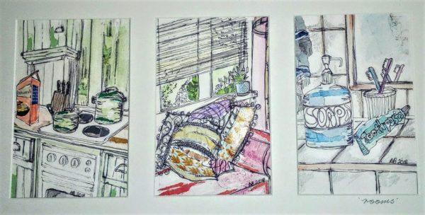 Rooms (trio), Alison Brewster, Mixed Media 37cm x 20cm