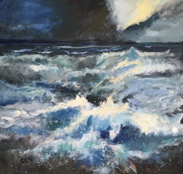 Catching The Storm Light, Sandra Ratcliffe, #301:  acrylic on painted edge canvas, 76x76cm, unframed