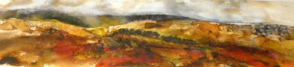 Harvest Time, Rhona Kirkpatrick, #188: mixed media, 90x34cm