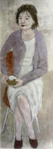 Resuming conversation, Joyce Gunn Cairns, #150:  oil on board, 120x60cm