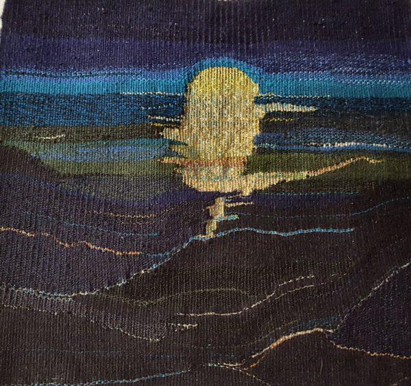 Moonlight Shimmer, Lorna Morrish, #259: cotton, silk, brass, copper and silver, 24x22cm