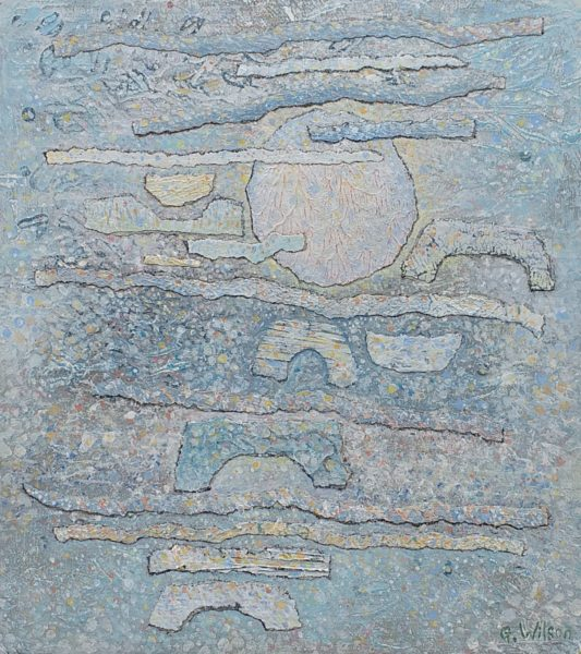 Sunset Ardneil Bay, George Wilson, #371:    mixed media, 18x20.5cm