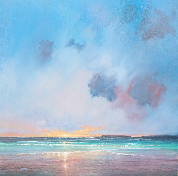 Calm Sea and Setting Sun, Birsay, Orkney, Iain  Gordon, #139: oil, 40x40cm, framed