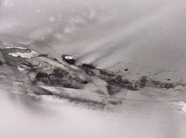 Heavy Weather, Caroline Borland, #028:  watercolour, 16x21cm
