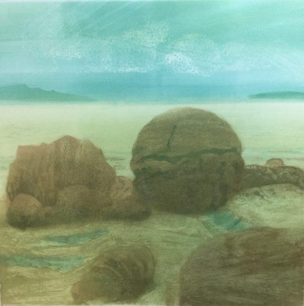 Raasay Rocks, Anne Russell, #318:  monoprint, 70x70x5cm, framed