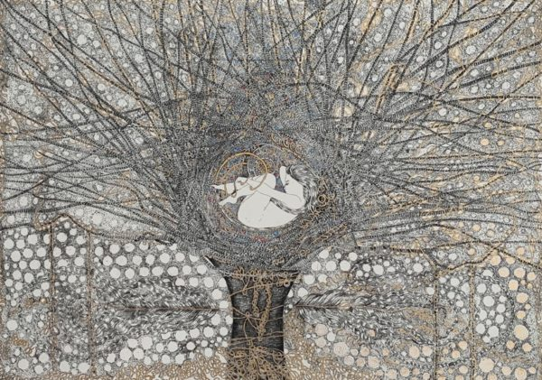 The Tree of Life, Marlene Lochhead, #201: etching with hand-painted detail, 43x54cm