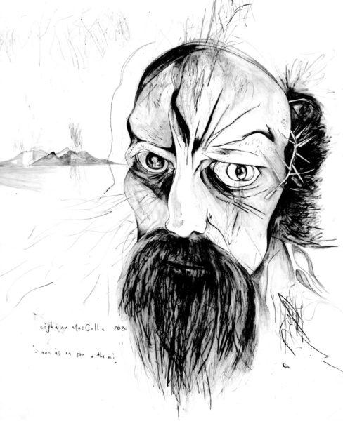 Buile Shuibhne 's Trolabhal, Eòghann MacColl, #207: Graphite on paper, 28x24cm