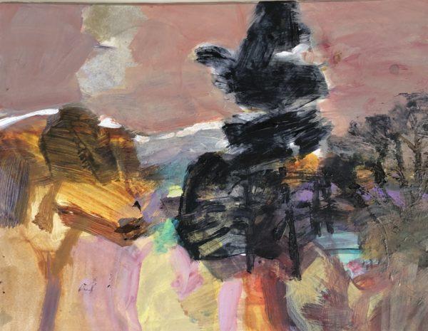 Barcapel Treeline, Alma Wolfson, #377:  acrylic, 32x24cm, unframed