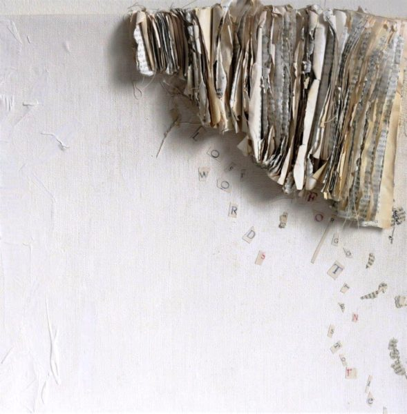 Lost Words, Liza Green, #144: recycled book on stitched and painted linen, 30x30cm