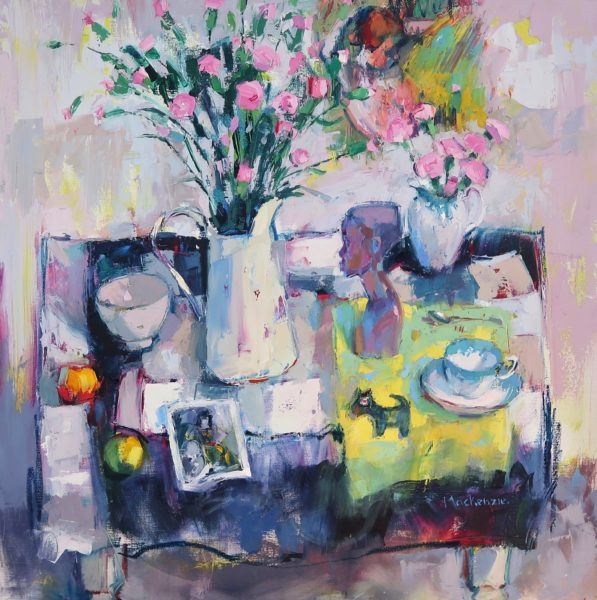 Table Top with Pink Carnations, Jennifer Mackenzie, #210: oil, 80x80cm
