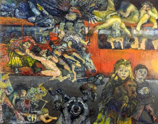 The Last Train, Kristina  Dickson, #094: acrylic and mixed media, 80x100cm