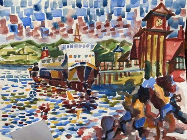 Awaiting Rothesay Ferry, Jimmy MacKellar, #209: watercolour, 30x40cm, framed