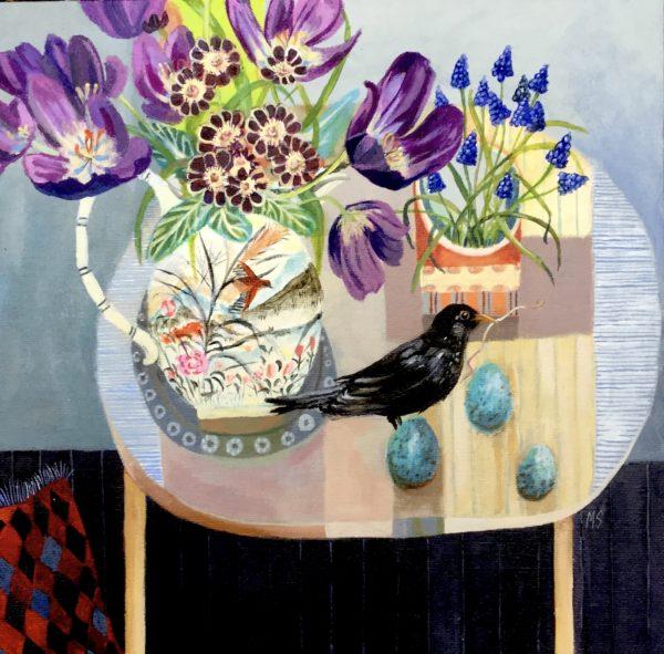 Spring Table with Tulips, Morag Stevenson, #342:  acrylic on board, 30x30cm