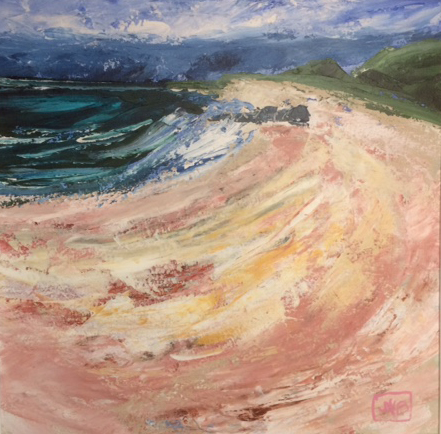 Arran Collection I - Windy Day Blackwaterfoot, Jean W Bell (McNeil), #019: acrylic, 50x50cm