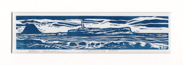 Arran Lighthouse, Allan Richardson, #308:  linocut, 25x12cm, mounted