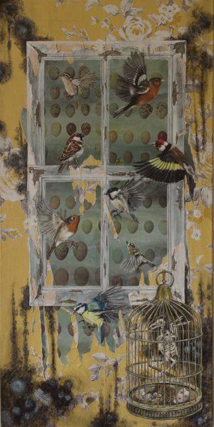 As my hopes have flown before, Deborah Wickham, #365:  acrylic and mixed media, 50x100cm