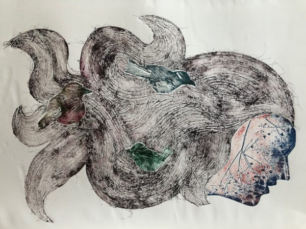Birds of a Feather, Fiona  Maher, #217: collagraph print using card, hair and feathers, 1of10, 37x66cm