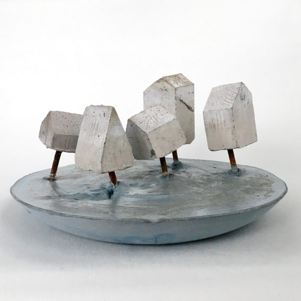 Floodplain, Zoe Scott, #324:  concrete and metal, 24x12cm