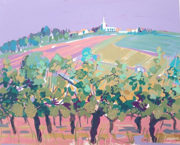Vine and Village Pink Sky, Carol Moore, Gouache on-board 29x24cm