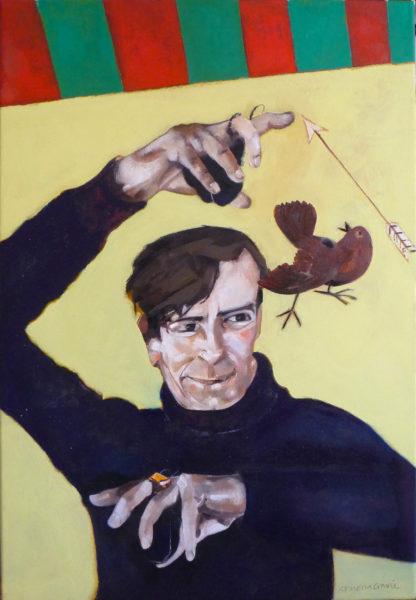 Cock Sparra meets Duncan McRae, Rowena Comrie, #068: oil on canvas,77x51cm