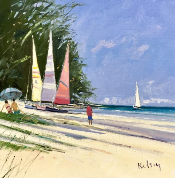 Colourful Sailboats, Barbados, Robert Kelsey, #186: oil, 30x30cm