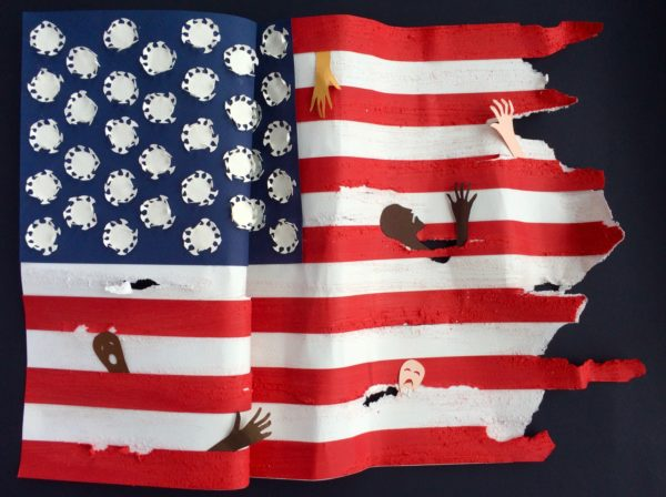 Covid Old Glory, Boo Paterson, #287: mixed media, 45x33cm