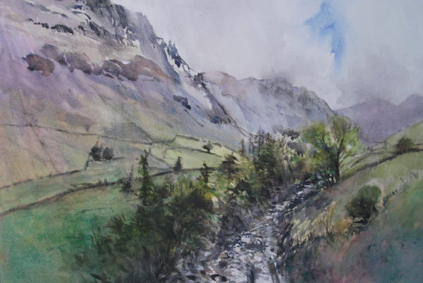 Mossdale Beck, Wasdale, Cumbria, Julia Gurney, #152: watercolour, 34x51cm
