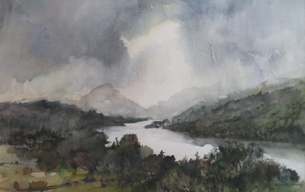 Ben More from Loch Tay, Julia Gurney, #151: watercolour, 30x47cm