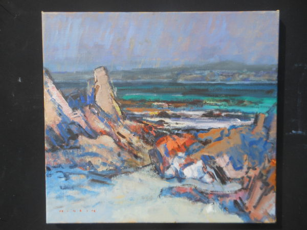 Winter Menhir, Mike Healey, #158: oil on canvas, 46x51cm
