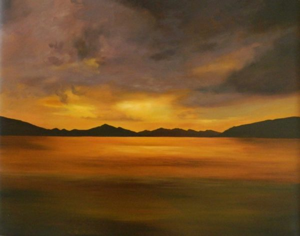 Evening Sky over Loch, Ruth  Corbett, #070: oil on canvas 71x89cm